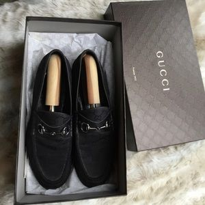 Gucci Horsebit black cloth loafer 9.5 US 43.5 E.